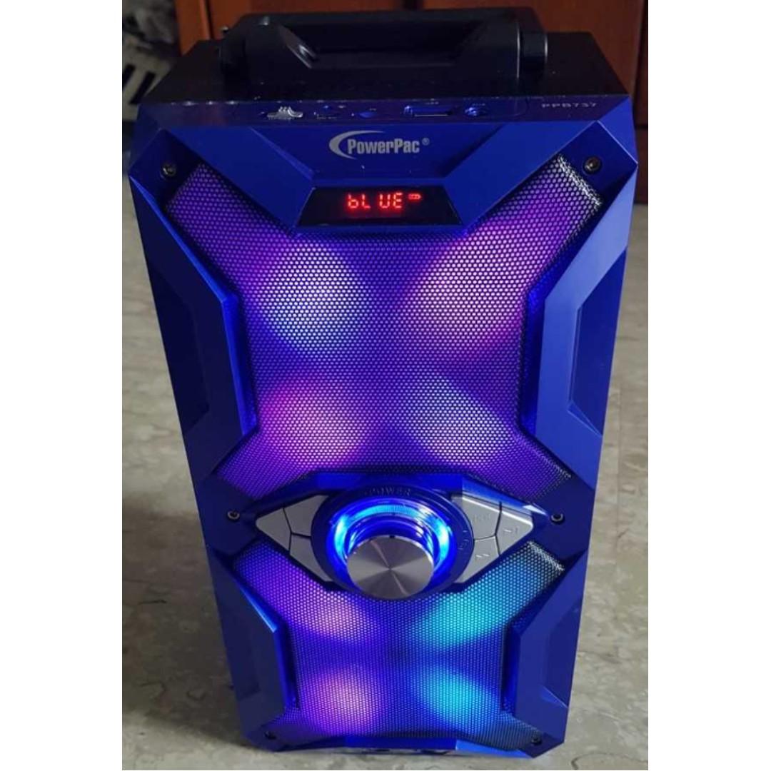 Powerpac Rechargeable Portable Speaker Karaoke W Bluetooth Rsp