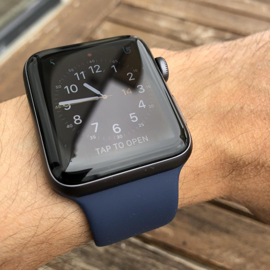 [READY STOCK] Navy Midnight Blue Rubber Casual silicone sports strap for Apple watch band series 1-4, iwatch sizes 38mm/40mm/42mm/44mm
