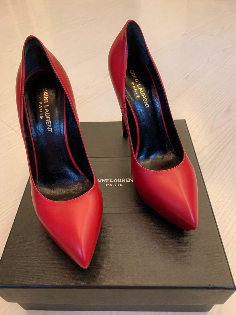 YSL Saint Laurent Red Shoes Heels 38.5