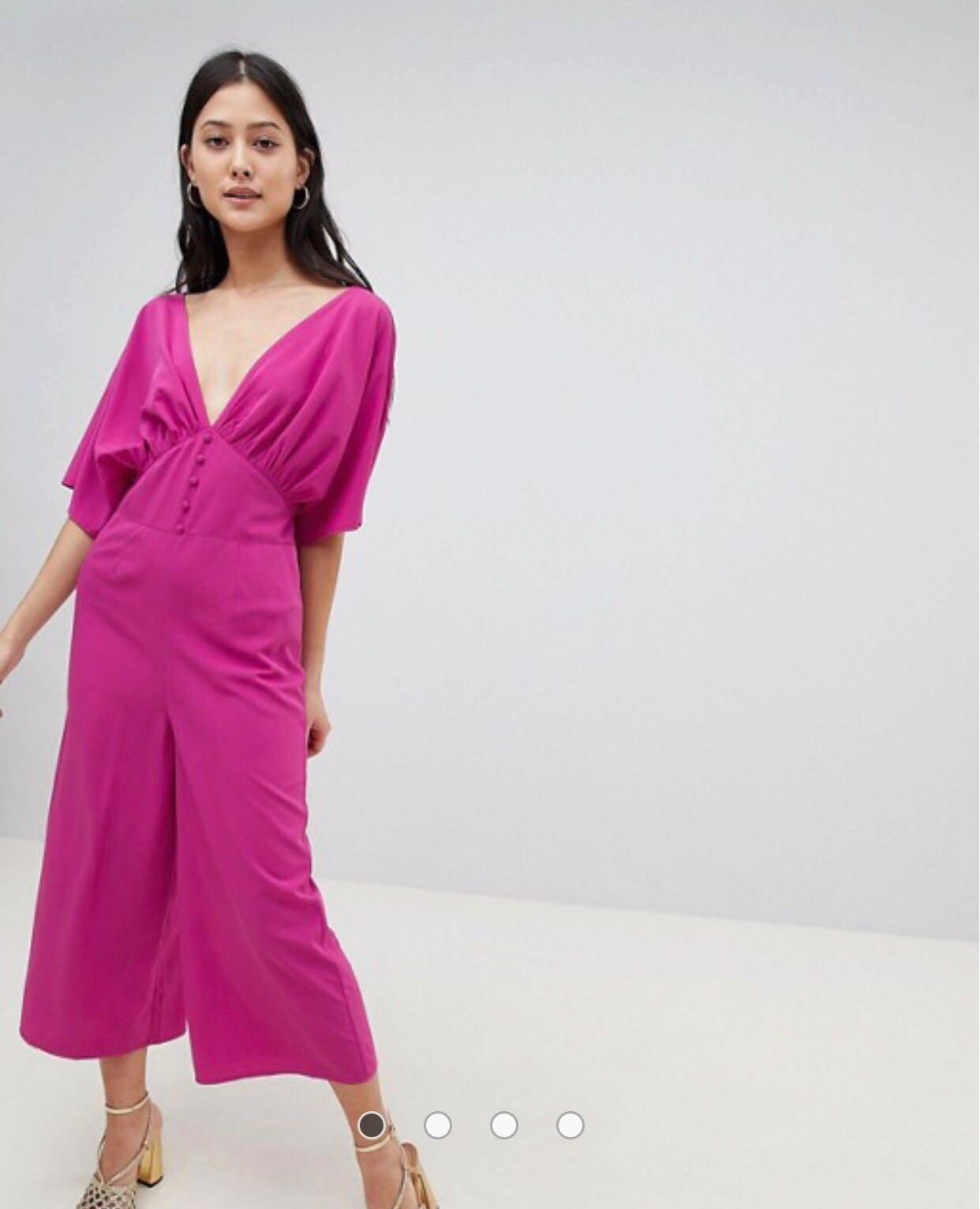 SALE Magenta Jumpsuit with Kimono Sleeves XS/S