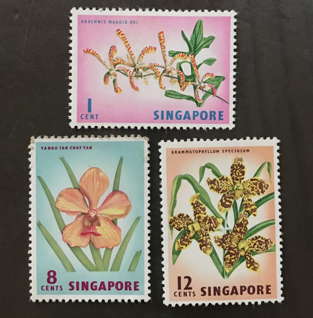 Singapore 1962 flowers mint stamps 3v some toning