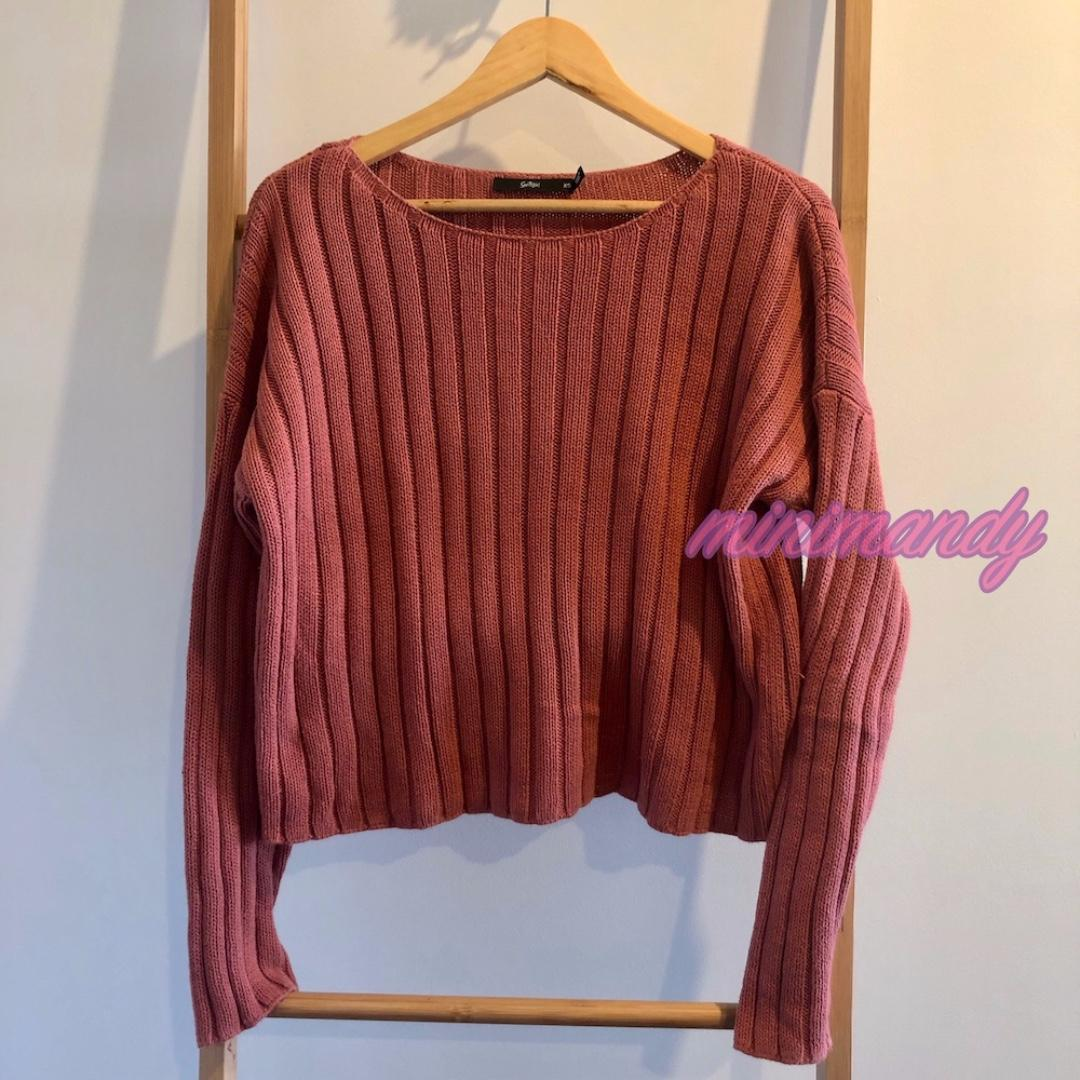 SPORTSGIRL orange red cable knit jumper sweater knitted top size XS