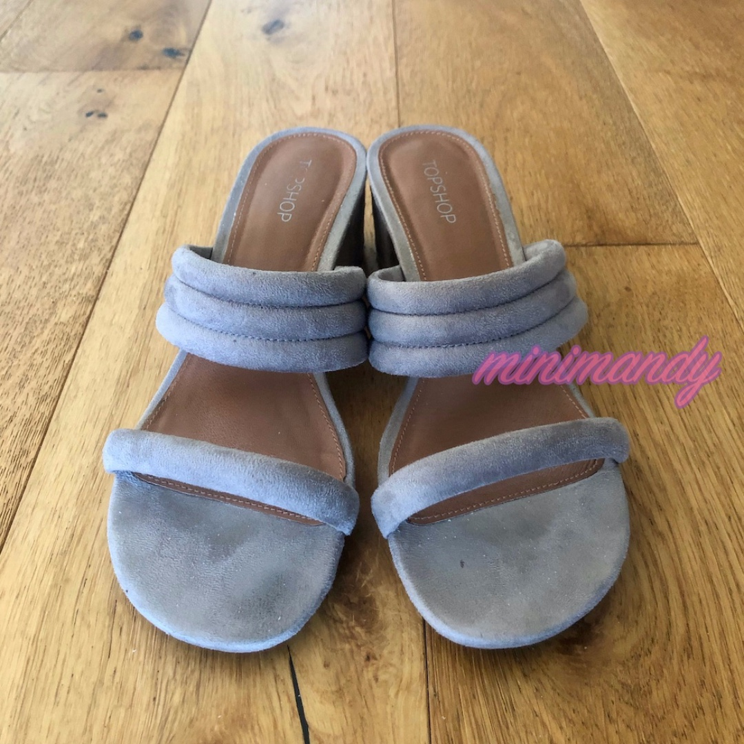 TOPSHOP grey suede strappy sandal heels velvet size 39 #SundayMarket