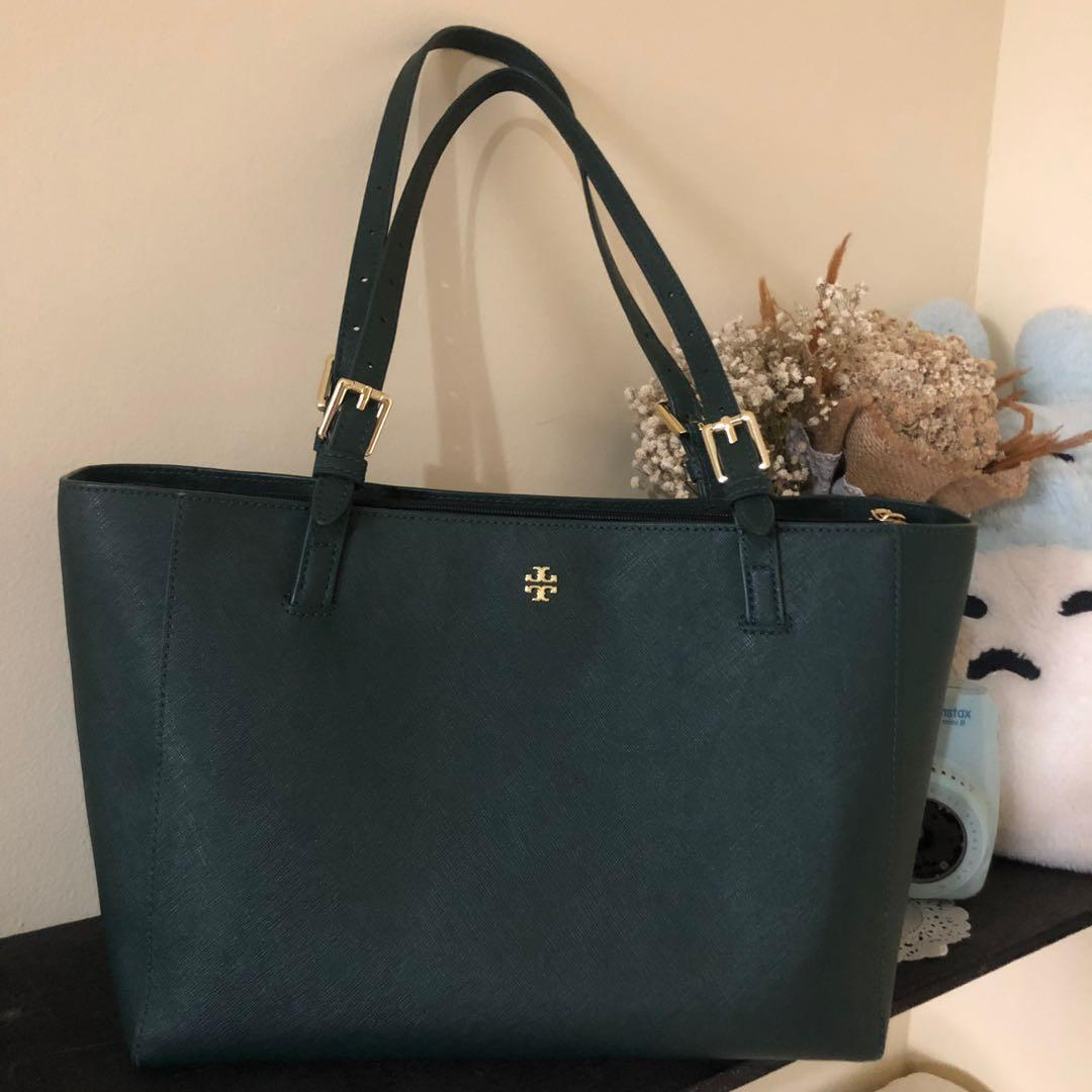 Tory Burch - Emerson Small Buckle Tote Jitney Green