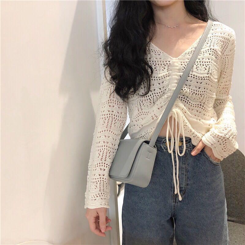 🔥Ulzzang Crochet Butterfly Knitted Tie On Crop Top