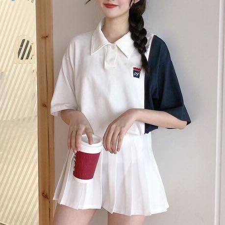 🔥Ulzzang Oversized Polo Tee Dress