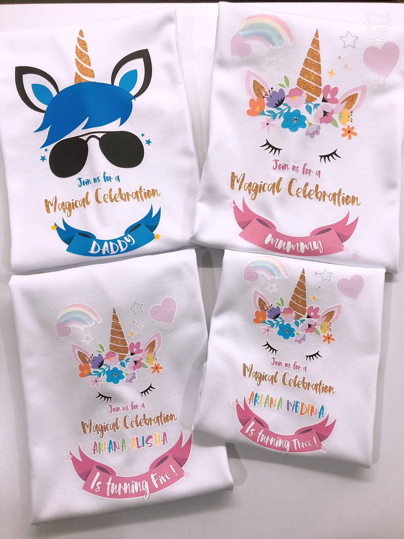 Unicorn Birthday Design - Family Set (Daddy/Mummy/Baby)
