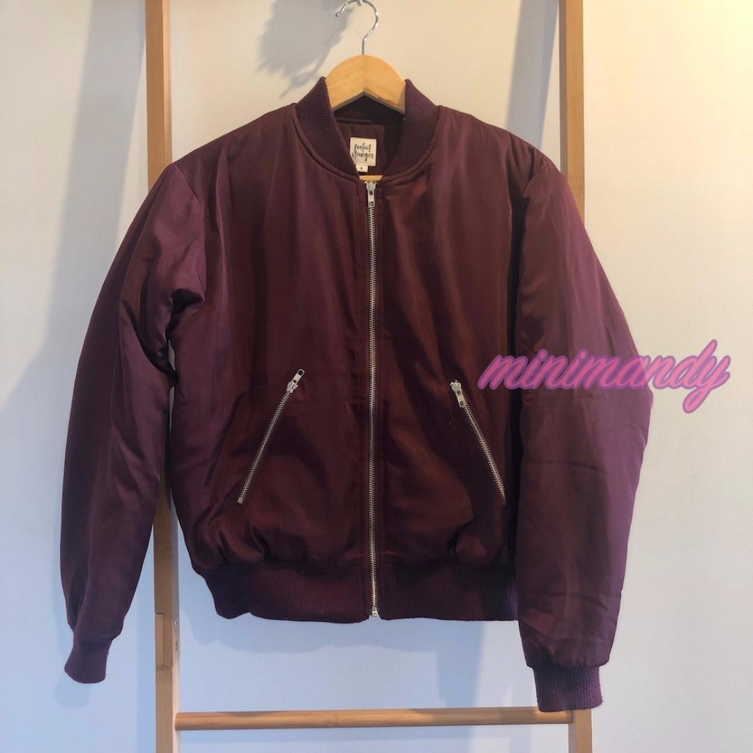 Universal Perfect Stranger Burgundy red bomber zipper padded jacket crop outwear