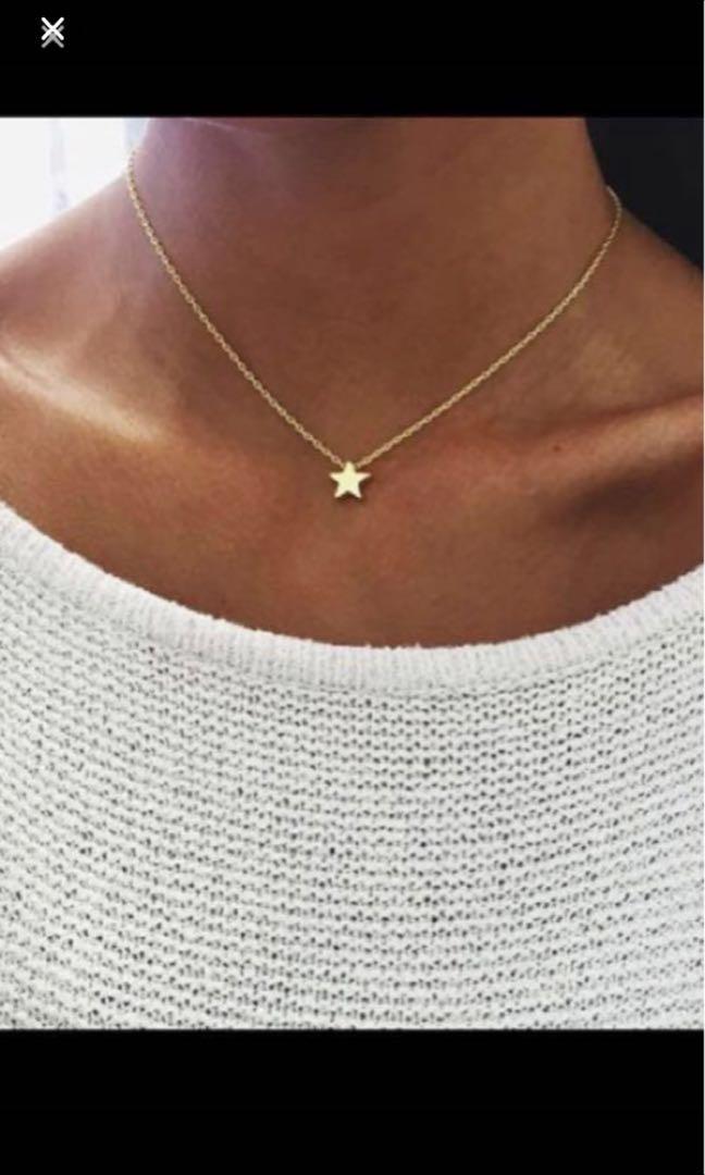 Various choker necklace half moon, star and love heart pendants