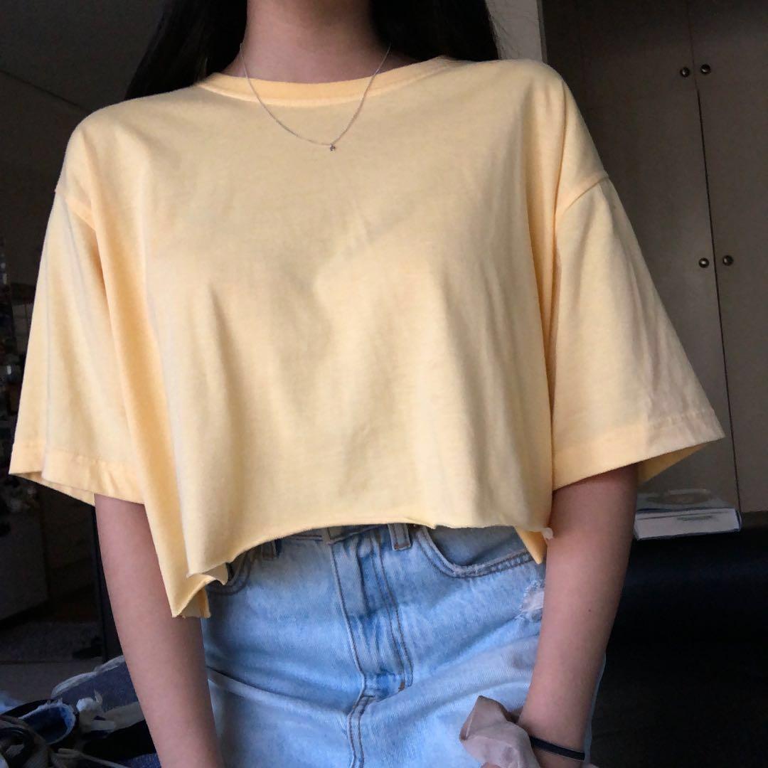 Vintage Yellow Oversize Crop Top