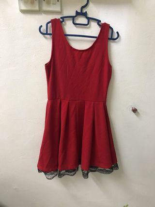 Deep V red dress
