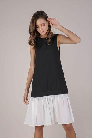 Colourblock Drop Hem Dress (Black)