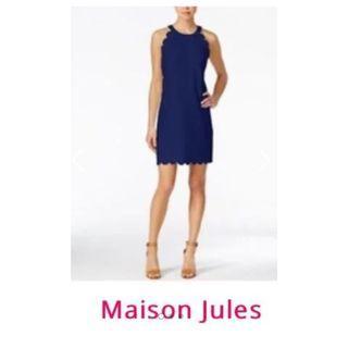 NEW Modern Classic Blue Scalloped-hem Sleeveless Sheath Dress Graduation/Weddings/Summer Socials NWT