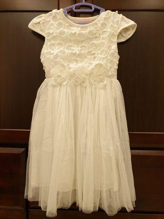 蕾絲花朵白紗洋裝(6-7歲適穿)