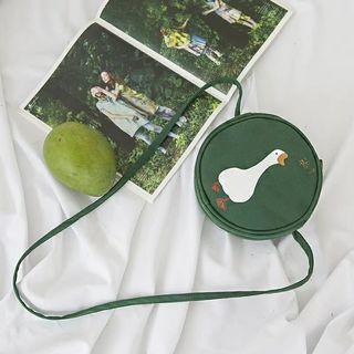 🐣現貨🐣 ❤佳比雜貨❤綠色鴨鴨雙面圖案圓形肩背側背小包包2019.5月底結單