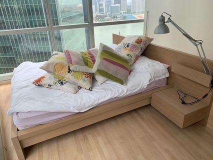 Bedframe, Matress and Side table