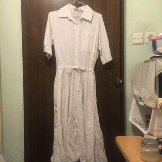 間條白色長裙