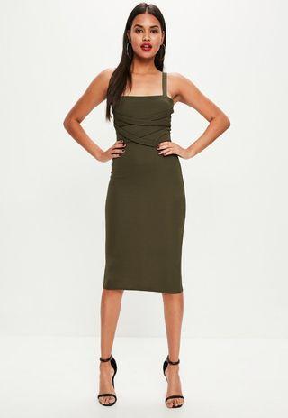 bc2c2b99fe3 MISSGUIDED Stretch Crepe Midi Dress in Khaki Green