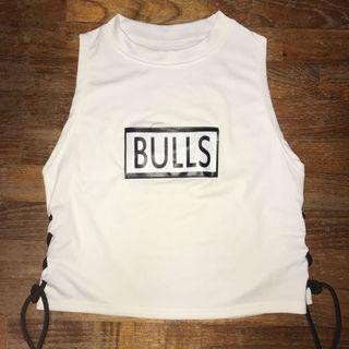"""Lace up """"Bulls"""" crop tank top"""