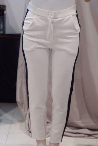 White Pants with Black Panel