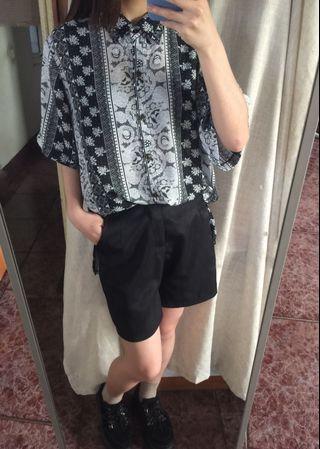🚚 日本製 古着 短袖黑白花襯衫