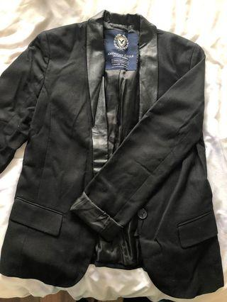 American eagle blazer with leather trim