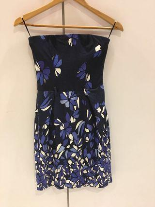 Mango blue floral tube dress