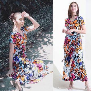 White Orange Floral Wrap Maxi Dress