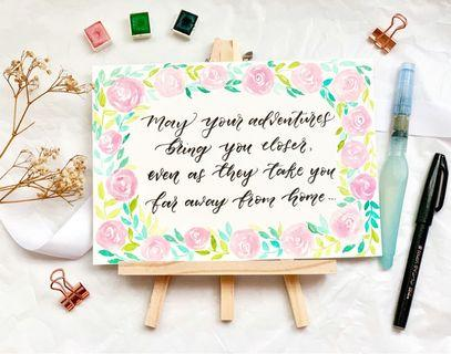 Watercolor floral calligraphy card