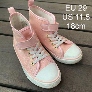 (Pre loved ) H&M Girl Glitter High Top Shoes EU 26 & 29 / 16&18cm