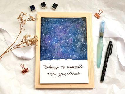 Galaxy watercolor calligraphy card
