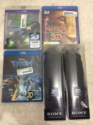 Narnia 3D Blu-ray、Tron Legacy 3D -Blu-ray、Green Hornet 3D Blu-ray、3D Sony眼鏡兩副,全新未開封