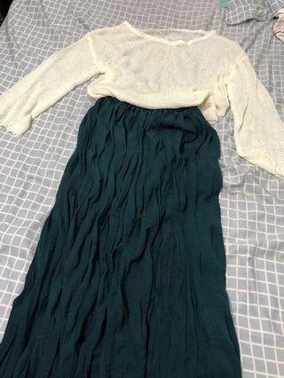超透膚針織上衣+抓皺長裙