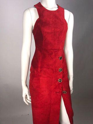 Vintage red faux suede dress