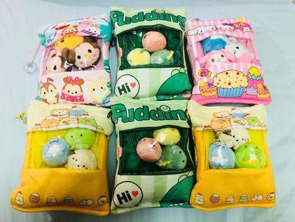 🚚 (現貨) 零食包 零食袋  小包 零食抱枕小包 角落生物小包 迪士尼 娃娃袋 娃娃公仔 共6袋 (每袋內含3隻小玩偶)