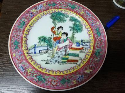 70-80年代 粉彩 仕女人物 瓷碟b