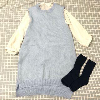 Baby藍長版針織背心