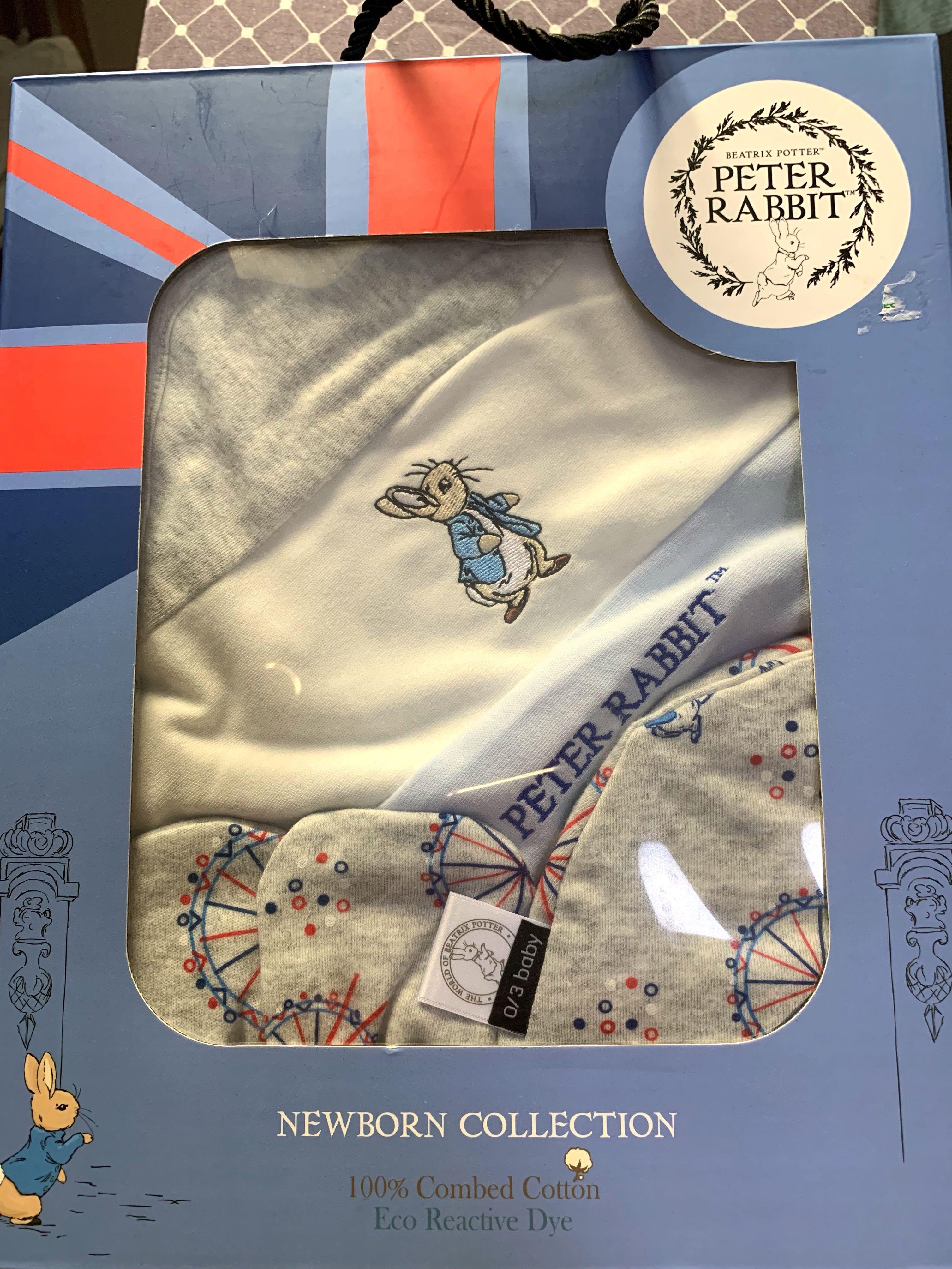 0/3 baby Peter Rabbit🐇New Born Set (3pieces/ blanket/ mittens/ hat)🐇彼得兔連帽包被/手套/帽🐇