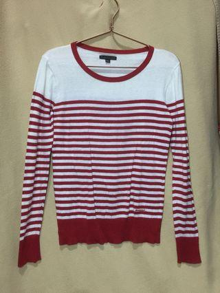 Sweater Putih Stripe Merah