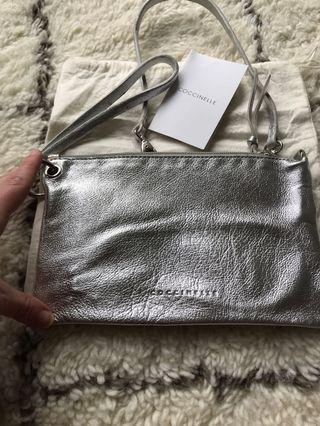 Coccinelle Silver Leather Wristlet