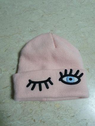 Pink wink beanie