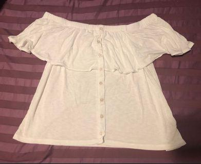 American Eagle White Shoulder Top Size XS