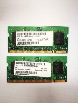 RAM 2 x 512 Mb Samsung DDRII 533