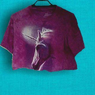 Unicorn print crop top xs