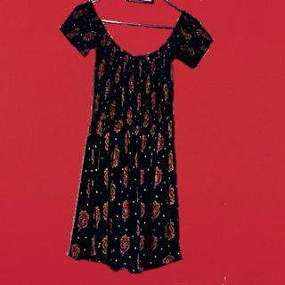 Hippy gypsy boho off shoulder dress small