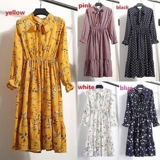 💥HOT💥✨felicelife✨Floral Printing Long Sleeved Retro Collar Slim Dresses