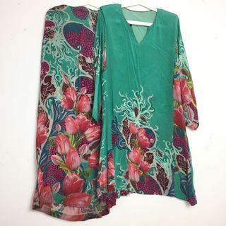 Baju Kurung Silk Corak Turquoise Bunga Floral Pattern Baju Kurung Baju Raya
