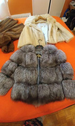 Real silver fox coat.