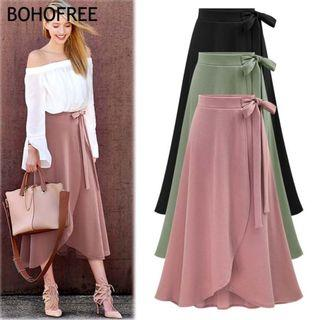 💥HOT ITEM💥READY STOCK Oversize 6XL Bow Belt Solid A Line Maxi Skirts Cotton Skirt Women