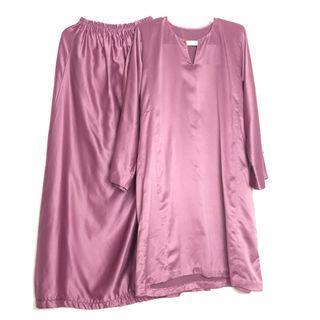 Baju Kurung Satin Pink Licin Lembut Soft Baju Kurung Baju Raya Manik Batu Embellishment Diamond